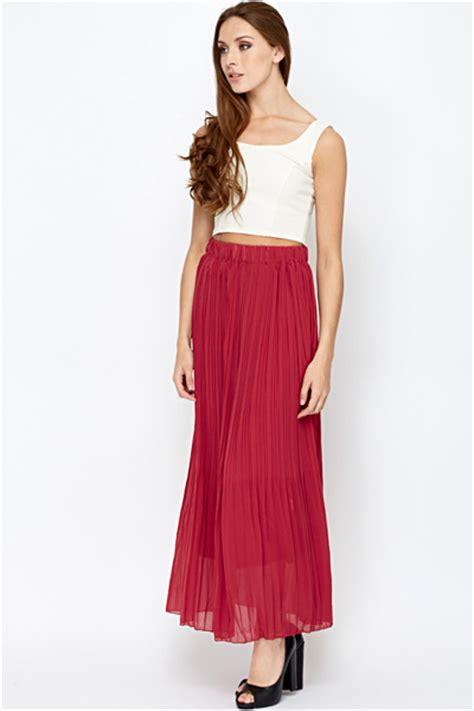 Maroon Just A Pleated Dress maroon maxi skirt dress ala