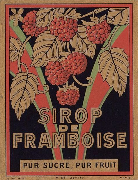 vintage french label framboise  graphics fairy
