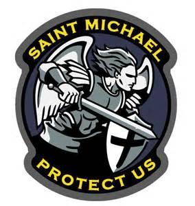 saint michael protect us vinyl decal full color