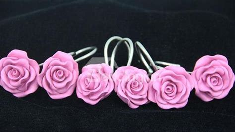 pink rose shower curtain hooks romantic sweet pink rose 12 pieces shower curtain hooks