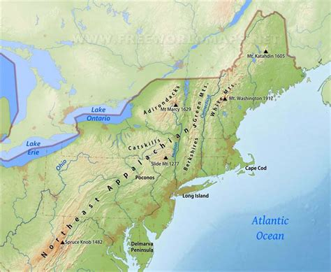 northeast map usa northeastern us physical map