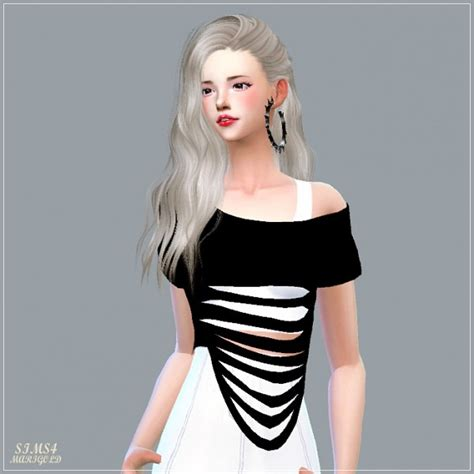 Crop Top Blouse Cc sims4 marigold destroyed crop top sims 4 downloads