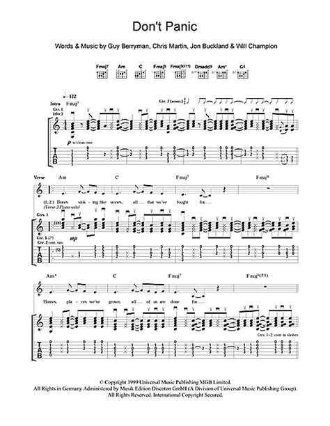 download mp3 coldplay dont panic don t panic guitar tab by coldplay guitar tab 101845