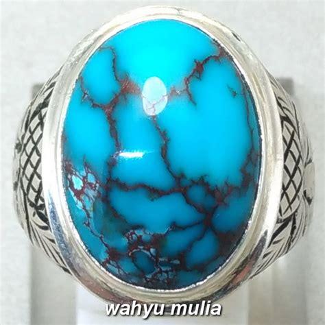Batu Cincin Akik Murah No 5 batu cincin phirus biru kinclong urat merah asli