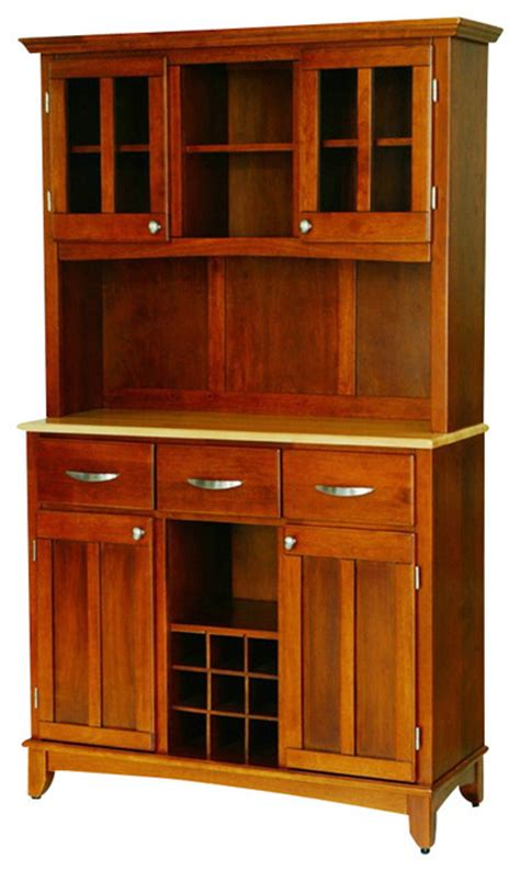 Wood Two Tone Buffet With Hutch Contemporary China Contemporary China Cabinets And Buffets