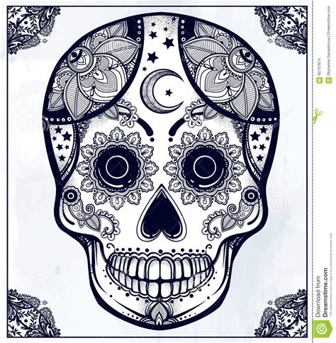 hand drawn sugar skull in ornate frame stock illustration