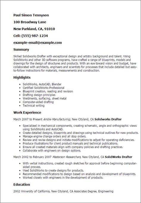 Drafter Cover Letters by Professional Solidworks Drafter Templates To Showcase Your Talent Myperfectresume