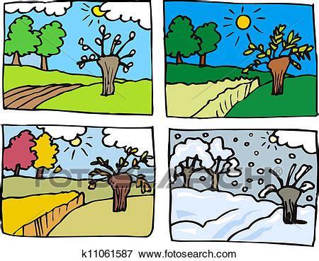 clip art of four seasons cartoon illustration k11061587