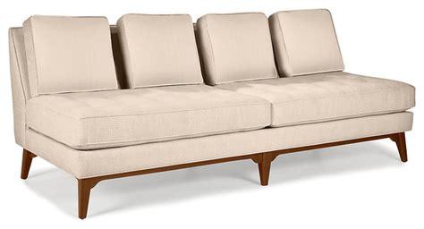 modern armless loveseat modern armless sofa mid century modern tufted armless