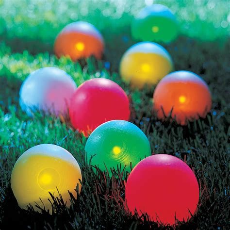 lighted balls the lighted bocce set hammacher schlemmer