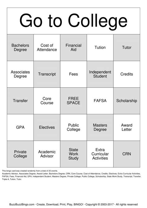 college bingo cards to download print and customize