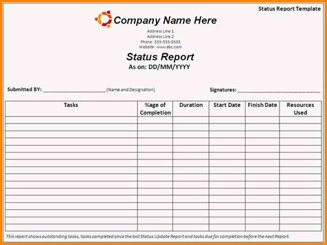 daily project status report template 5 daily work status report format in excel cashier resumes