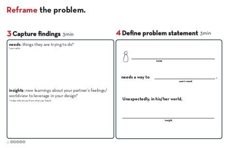 design thinking needs statement stanford design thinking workbook