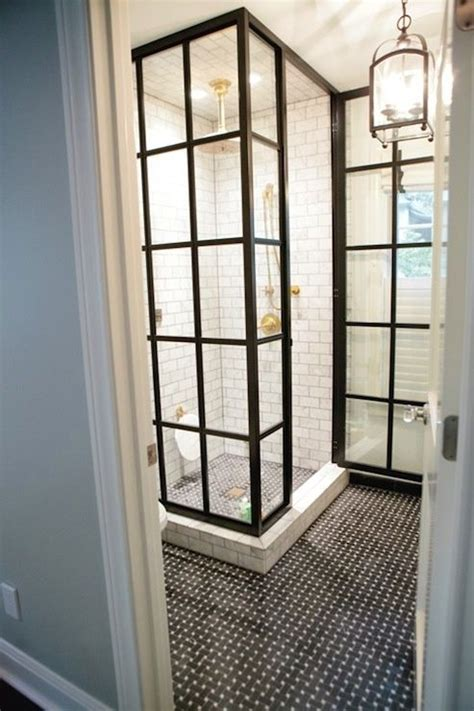 Shower Stall Door Black Steel Framed Shower Doors Subway Tile With Gray Grout Brass Shower Fittings Bathrooms