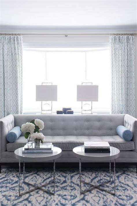 blue and gray sofa pillows gray tufted high back sofa with blue bolster pillows