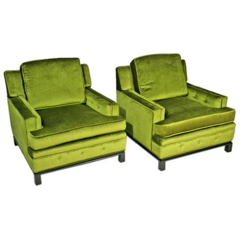 green velvet club chairs with wood bases at 1stdibs
