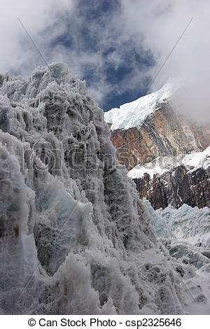 stock image of steep ice wall at glacier tongue, himalayas
