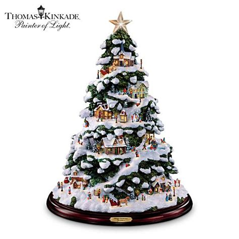 thomas kinkade quot village christmas quot illuminated tabletop tree
