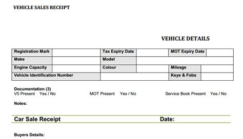 vehicle receipt template car sales invoice template uk invoice exle