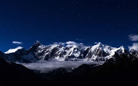 ng mountain snow dark blue winter sky star wallpaper