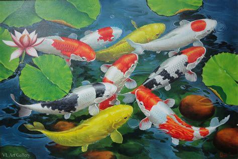 Lukisan Koi 2 jual koi fish painting quot the fortune fish part 2 quot lukisan ikan koi vl gallery