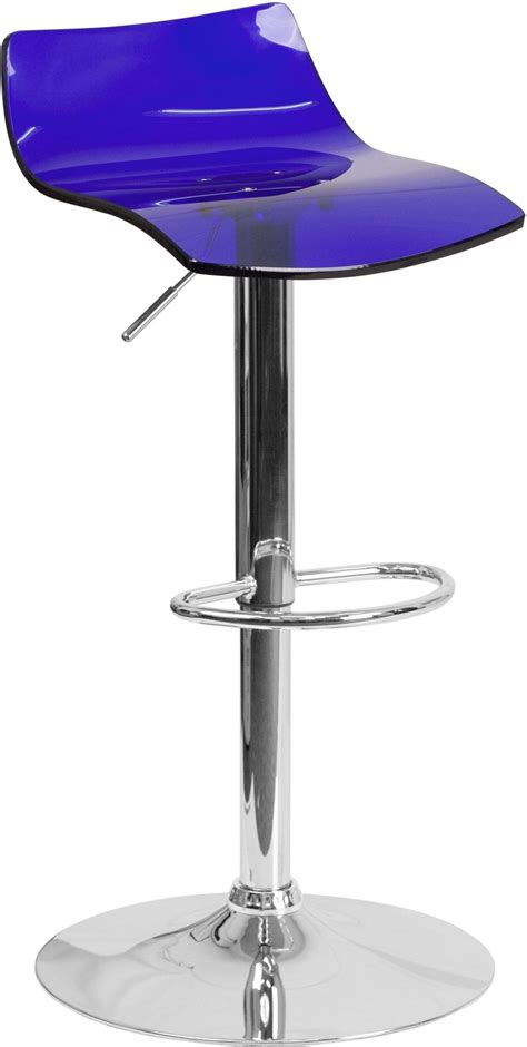 Acrylic Adjustable Bar Stools by Contemporary Transparent Blue Acrylic Adjustable Height