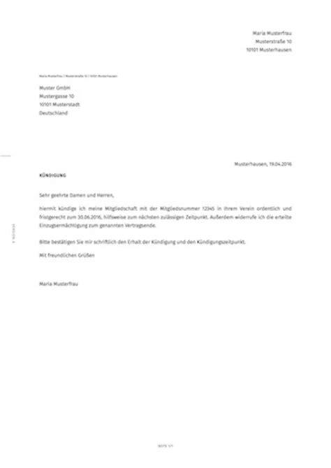 Antrag Mitgliedschaft Vorlage K 252 Ndigung Der Vereinsmitgliedschaft Erstellen Smartlaw