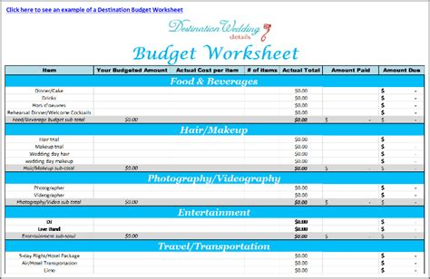 Super Simple Destination Wedding Planning Spreadsheets Detailed Budget Template