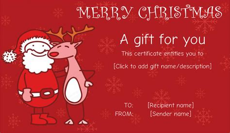 santa friend wit reindeer gift certificate