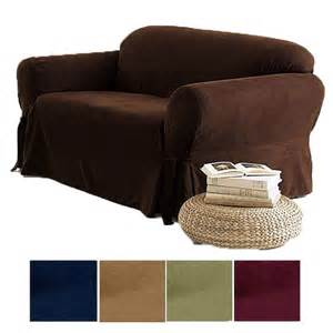 2 pc soft micro suede sofa loveseat slip cover brown