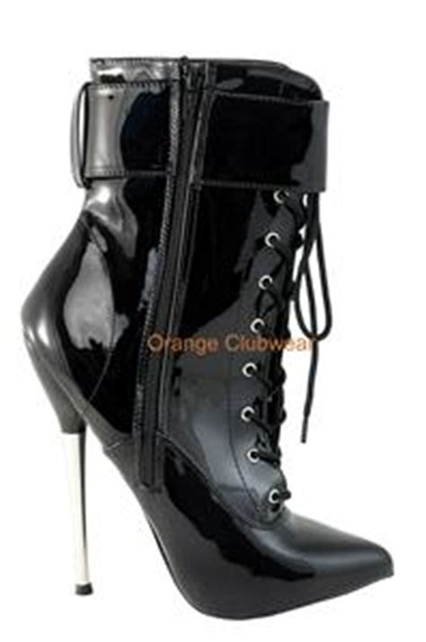 locking high heel shoes devious metal spike locking black stiletto