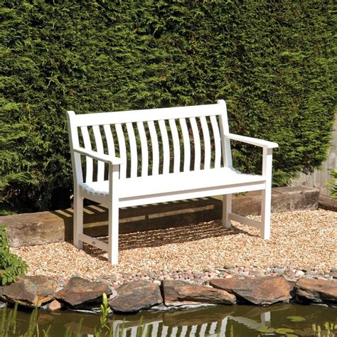 4ft garden bench white painted broadfield garden bench 4ft hardwood