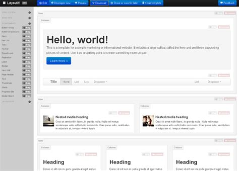 layoutit interface builder for bootstrap just layoutit really easy bootstrap interface builder