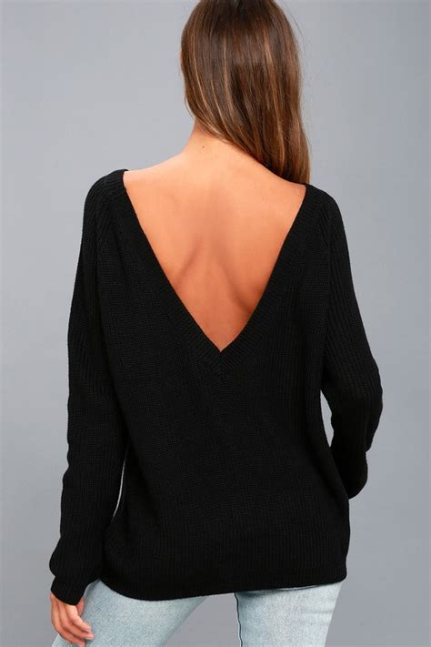 Black V Back Sweater S741 black sweater knit top backless sweater v back