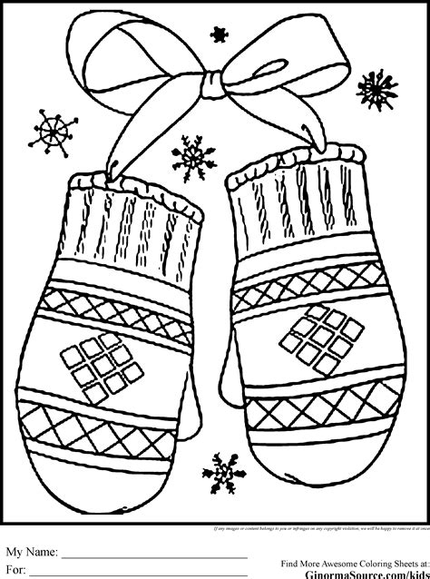 winter holiday coloring pages mittens coloring pages