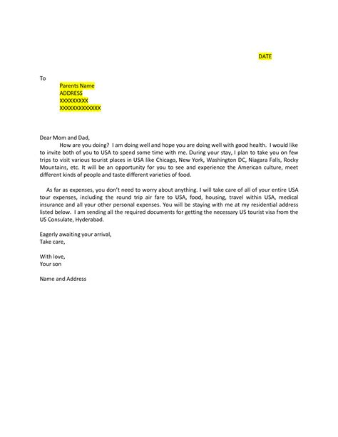 Support Letter From Parents For Partnership Visa sle invitation letter for canada business visa