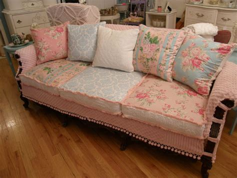 shabby chic loveseats shabby chic slipcovered sofa vintage chenille and roses