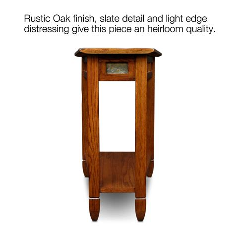 rustic wedge end table amazon com leick 10056 rustic oak slate tile recliner