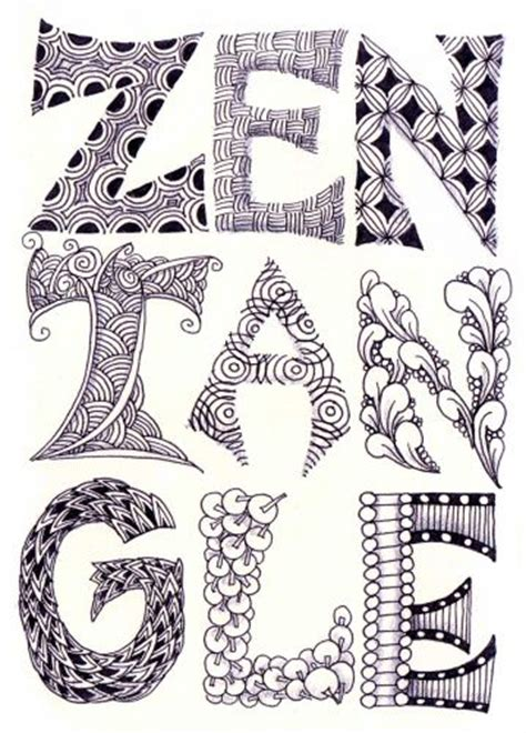 printable zentangle alphabet free coloring pages of zentangle letters