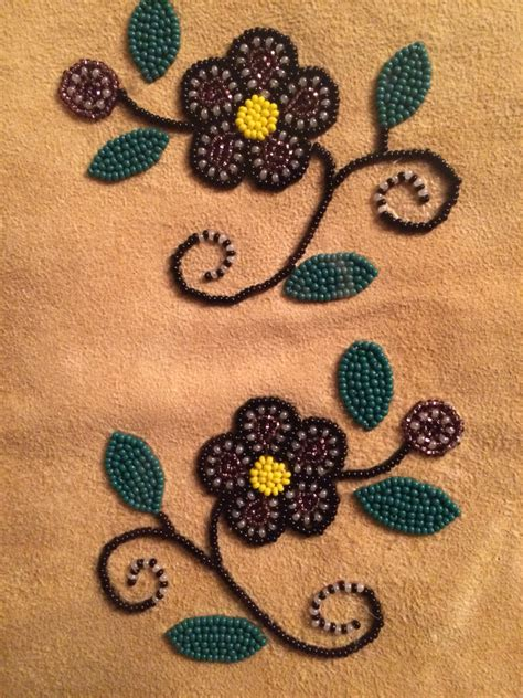 beadwork cree cree beaded floral design on moose hide made by