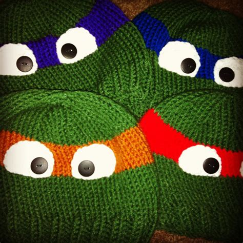 knitting pattern for ninja turtles children s hand knitted ninja turtle beanie by