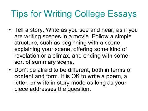 Tips For Writing A College Essay by College Essay Tips By Jeanne