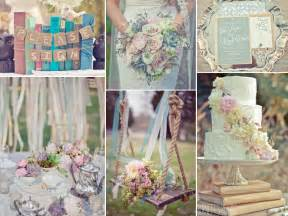 Vintage book themed wedding in a pastel wedding palette