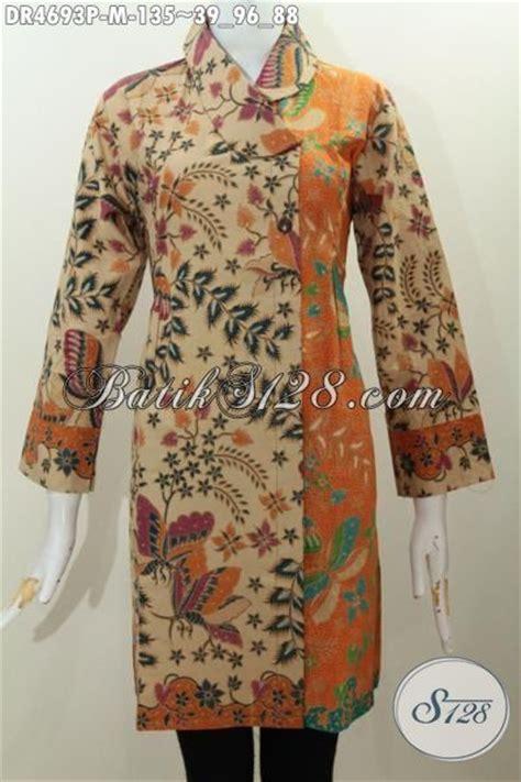 desain baju batik bagus pakaian batik kombinasi warna dengan desain kerah miring