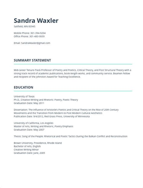 academic cv template cv templates resume builder with exles and templates