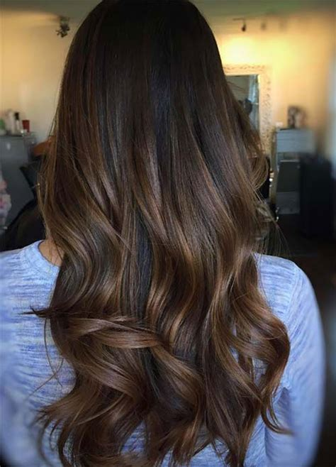putting dark brown on top of hair the in the middle red and lower hair dark brown top balayage for dark hair black and dark brown hair