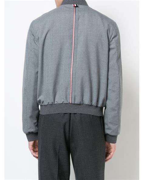 Jaket Ziper Hodie Bolak Balik Parka Pink Blue Turkis lyst thom browne zip front blousson ribbed jacket with center back white and blue