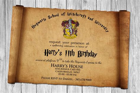 card template harry potter harry potter papyrus style birthday invitation psd