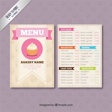Corporate Menu Card Template by Bakery Menu Template Free Downloads Bakery