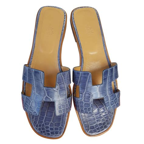 Sandal Flat Hermes by Herm 232 S Oran Flat Sandals In Crocodile Sandals